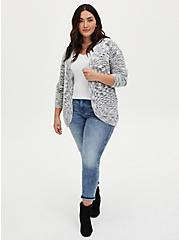Plus Size Ivory Space-Dye Curve Front Cardigan, IVORY, alternate