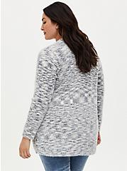 Ivory Space-Dye Curve Front Cardigan, IVORY, alternate