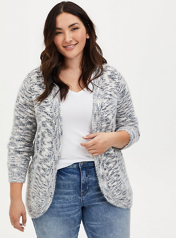 Ivory Space-Dye Curve Front Cardigan, IVORY, hi-res