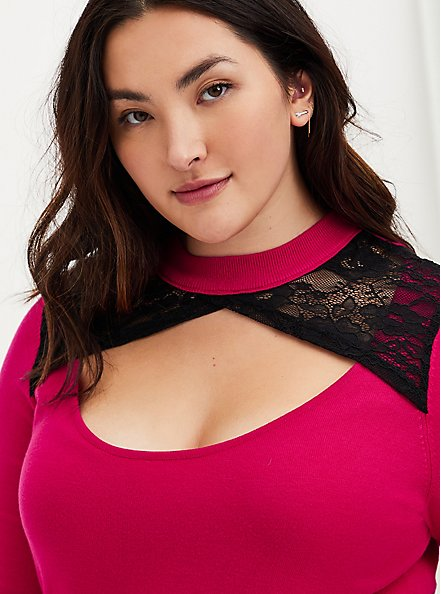 Hot Pink Lace Keyhole Pullover Top, LOVE POTION, alternate
