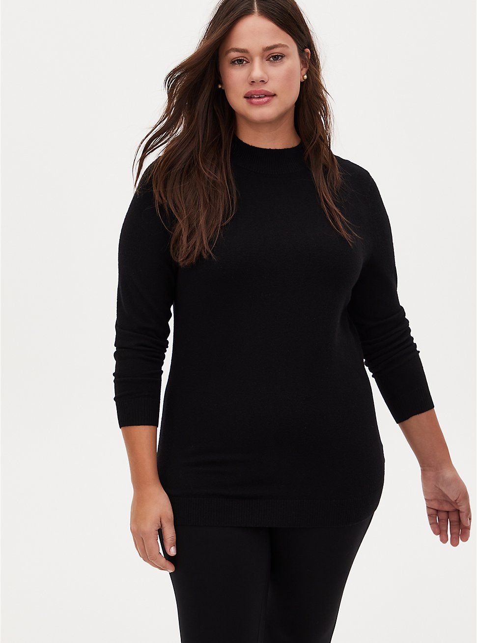 Black Mock Neck Pullover Sweater, DEEP BLACK, hi-res