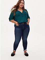 Harper - Dark Green Georgette Pullover Blouse, TEAL, alternate
