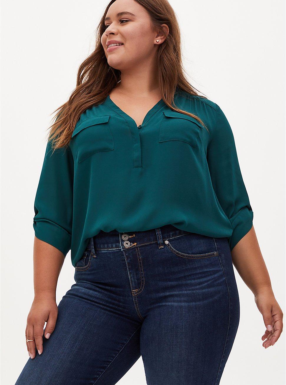 Harper - Dark Green Georgette Pullover Blouse, TEAL, hi-res