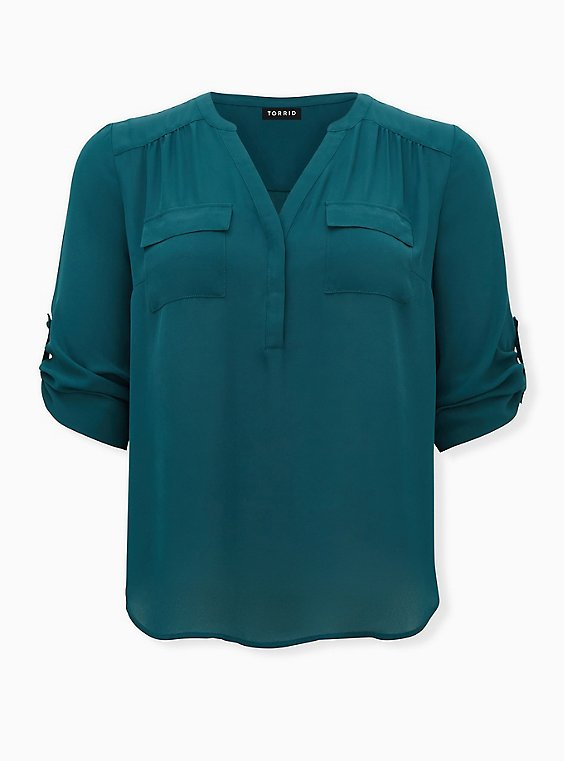Harper - Dark Green Georgette Pullover Blouse, TEAL, ls
