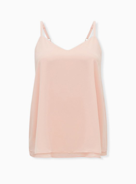 Sophie - Light Pink Chiffon Double Layer Swing Cami, PALE BLUSH, ls
