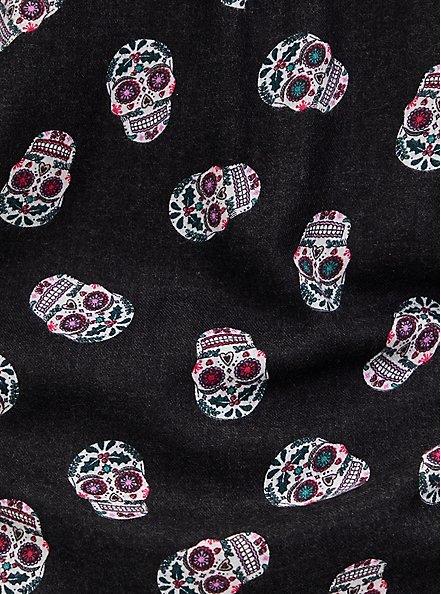 Harper - Black Sugar Skull Brushed Pullover Tunic Blouse , SKULL - BLACK, alternate