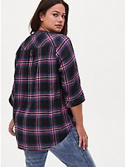 Harper - Black & Hot Pink Plaid Brushed Rayon Pullover Tunic Blouse , PLAID - BLACK, alternate