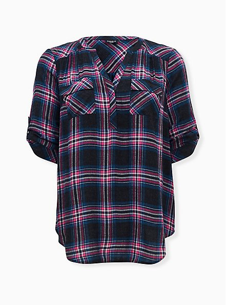 Harper - Black & Hot Pink Plaid Brushed Rayon Pullover Tunic Blouse , PLAID - BLACK, hi-res