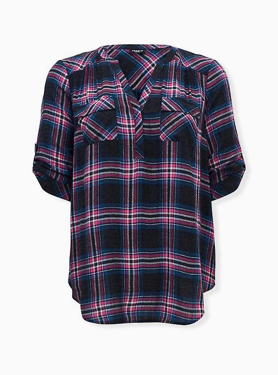 Harper - Black & Hot Pink Plaid Brushed Rayon Pullover Tunic Blouse , PLAID - BLACK, ls