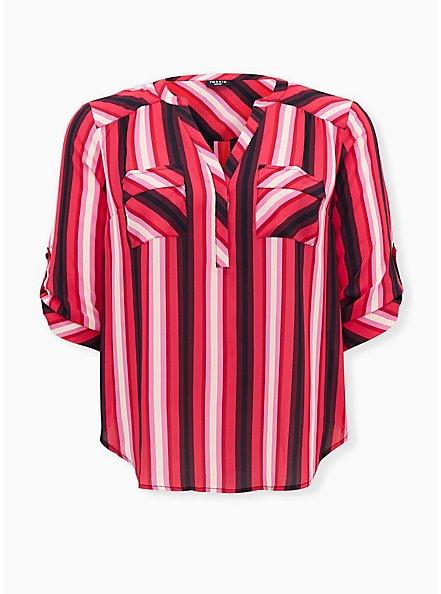 Harper - Red & Pink Stripe Georgette Pullover Blouse , STRIPES, hi-res