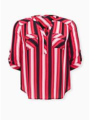 Plus Size Harper - Red & Pink Stripe Georgette Pullover Blouse , STRIPES, hi-res