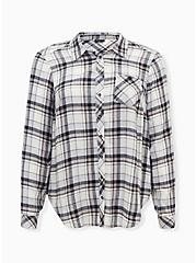 Grey Plaid Brushed Button Front Relaxed Fit Shirt, PLAID - GREY, hi-res