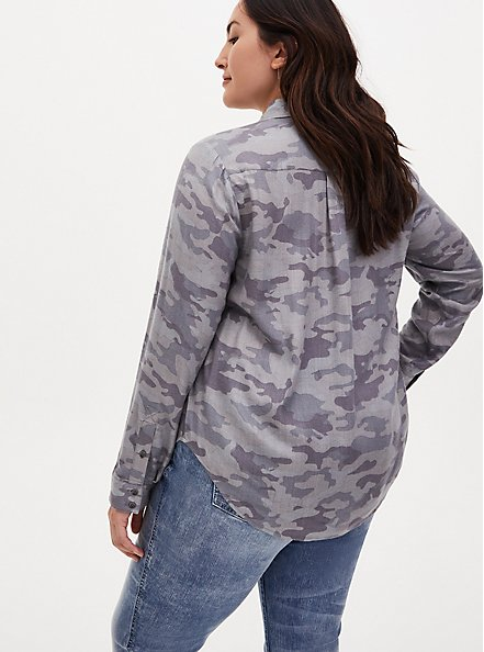 Grey Camo Brushed Button Front Relaxed Fit Shirt, CAMO, alternate