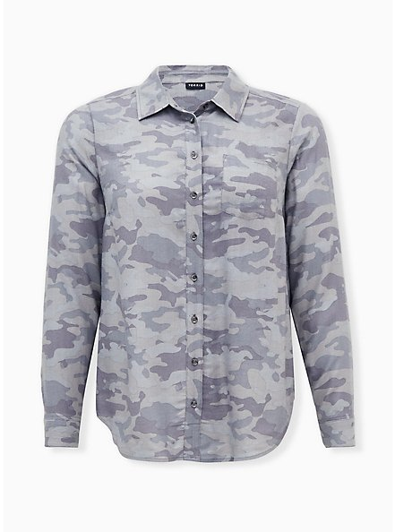 Grey Camo Brushed Button Front Relaxed Fit Shirt, CAMO, hi-res