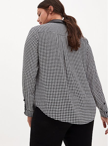 Madison- Black & White Houndstooth Georgette Faux Leather Collar Blouse, PLAID - BLACK, alternate