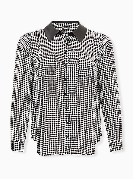 Black & White Houndstooth Georgette Faux Leather Collar Button Front Blouse, PLAID - BLACK, hi-res