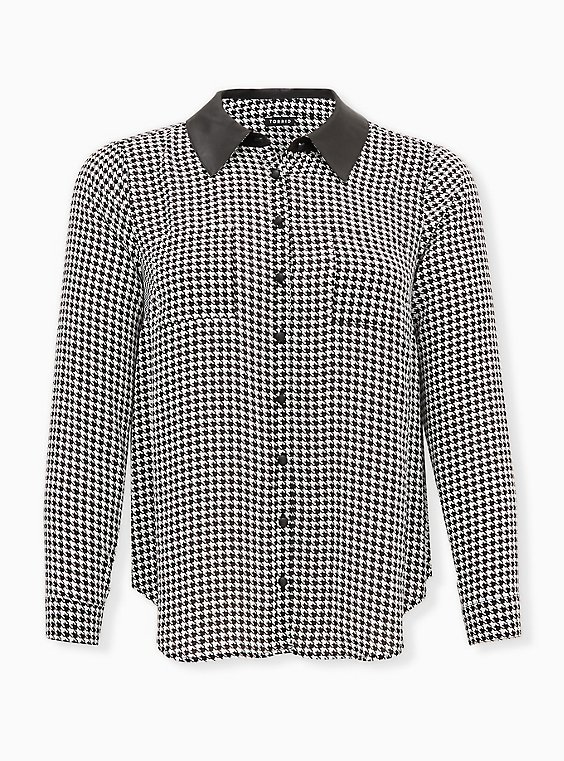 Madison- Black & White Houndstooth Georgette Faux Leather Collar Blouse, PLAID - BLACK, ls