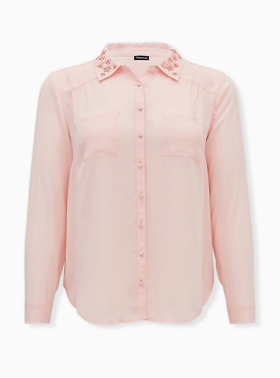 Madison - Light Pink Georgette Embellished Collar Button Front Blouse, PALE BLUSH, ls