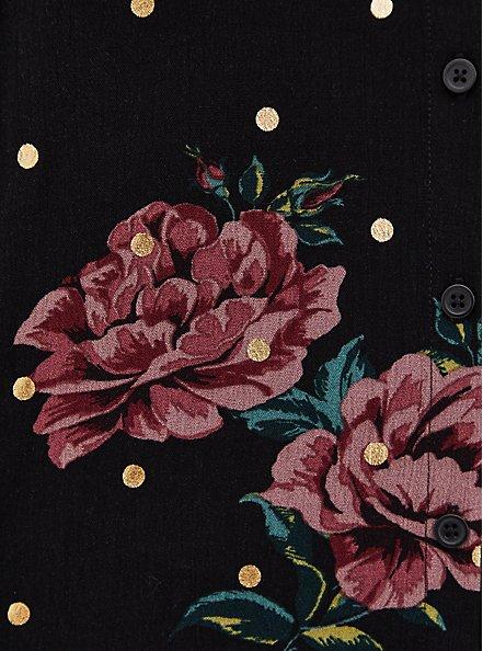 Black Floral & Gold Dot Crinkled Gauze Peasant Blouse , FLORALS-BLACK, alternate