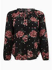 Black Floral & Gold Dot Crinkled Gauze Peasant Blouse , FLORALS-BLACK, hi-res
