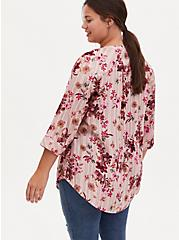 Harper - Pink Stripe & Floral Brushed Rayon Pullover Tunic Blouse , FLORALS-PINK, alternate