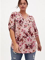 Harper - Pink Stripe & Floral Brushed Rayon Pullover Tunic Blouse , FLORALS-PINK, hi-res