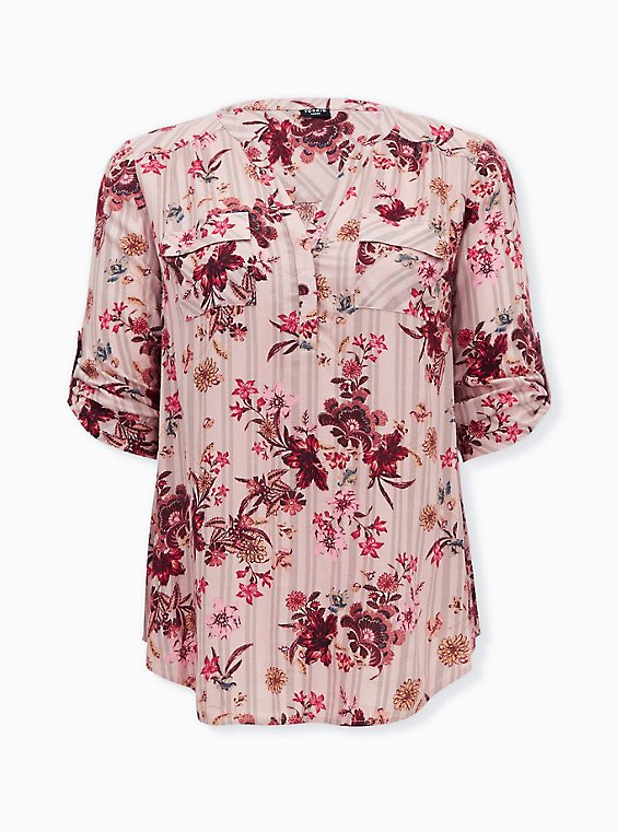 Harper - Pink Stripe & Floral Brushed Rayon Pullover Tunic Blouse , FLORALS-PINK, ls