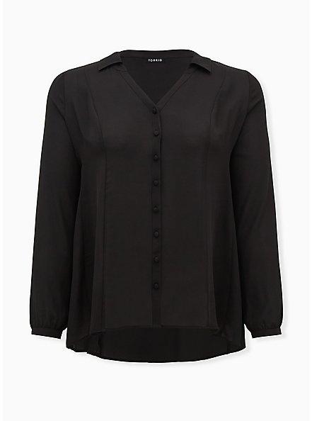 Black Georgette Fit & Flare Blouse, DEEP BLACK, hi-res