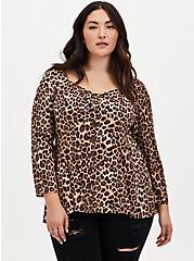 Leopard Challis Fit & Flare Blouse, LEOPARD, hi-res