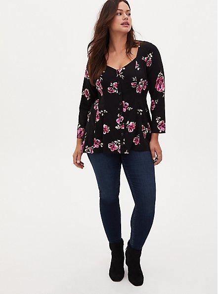 Black Floral Challis Button Fit & Flare Top, FLORALS-BLACK, alternate