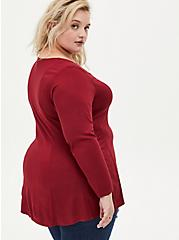 Plus Size Dark Red Challis Fit & Flare Blouse, RED, alternate