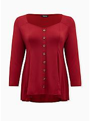 Plus Size Dark Red Challis Fit & Flare Blouse, RED, hi-res
