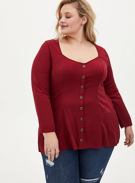 Dark Red Challis Fit & Flare Blouse, RED, hi-res