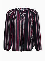 Black Striped Gauze Peasant Top, STRIPES, hi-res