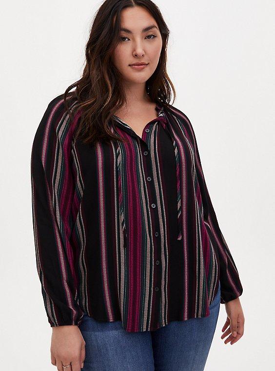 Black Striped Gauze Peasant Top, , hi-res