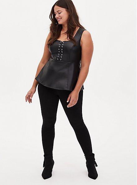 Black Faux Leather Lace-Up Peplum Top, DEEP BLACK, alternate