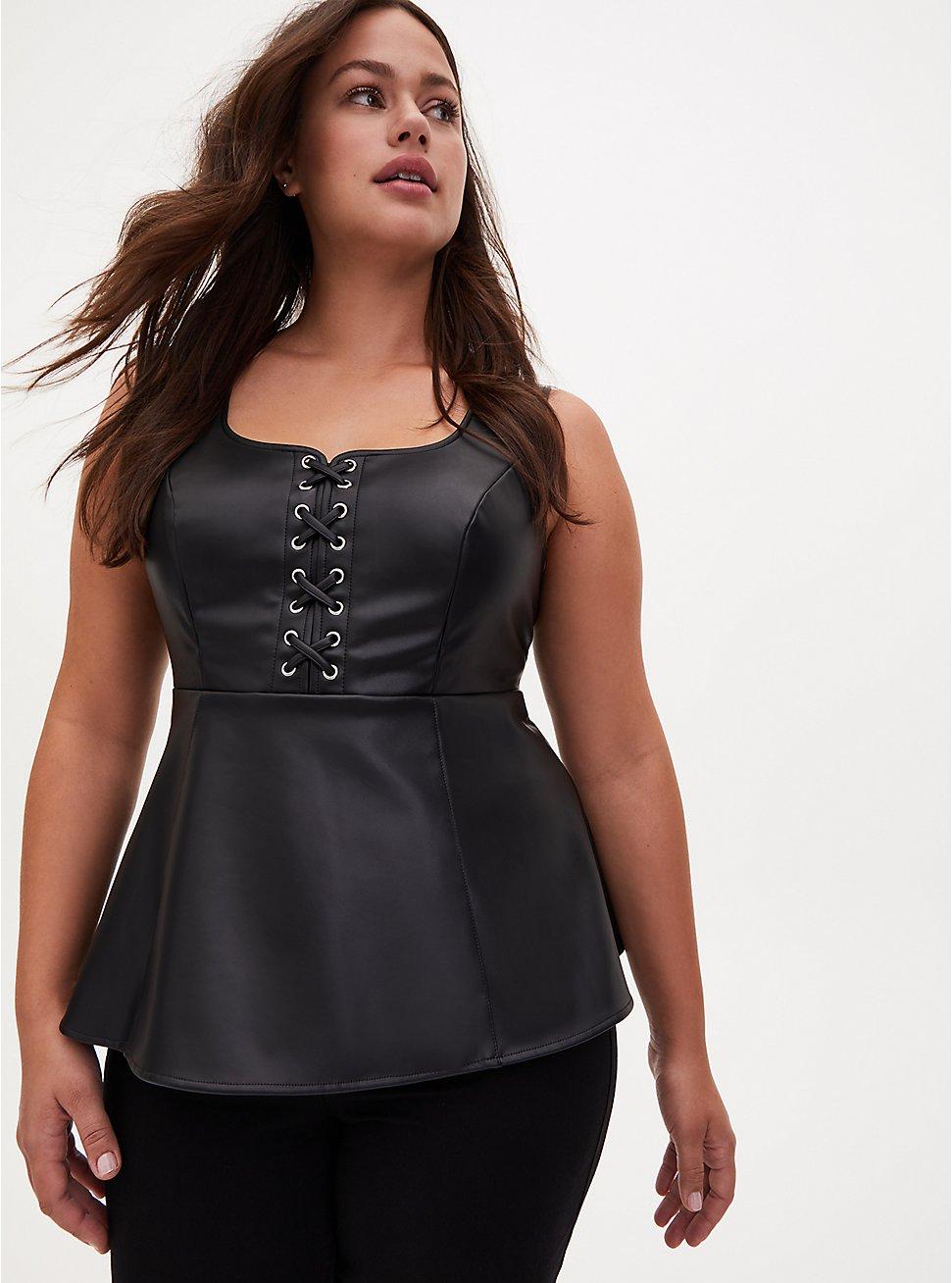 Black Faux Leather Lace Up Peplum Top, DEEP BLACK, hi-res
