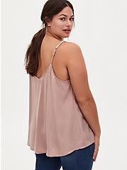 Taupe Charmeuse Embellished Strap Swing Cami , FAWN, alternate