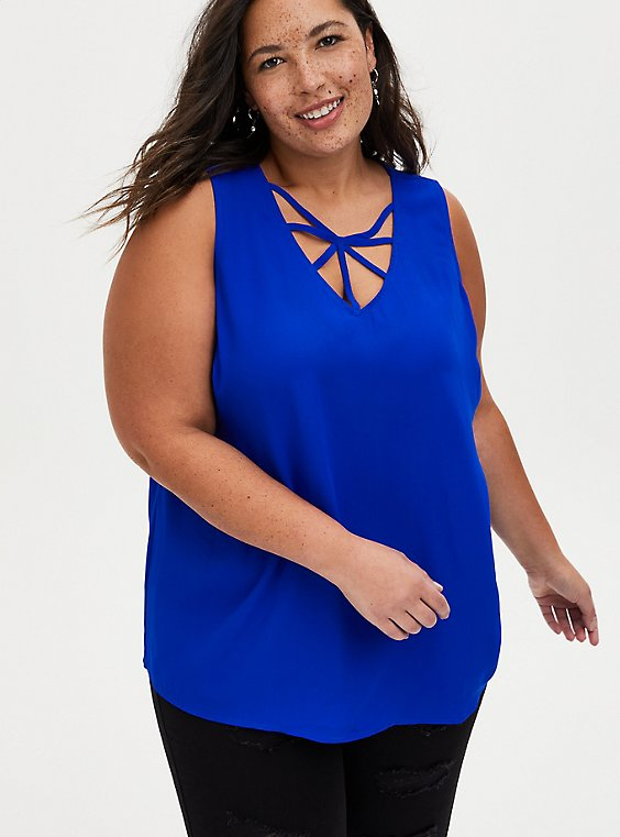 Plus Size Blue Strappy V-Neck Georgette Tank, , hi-res