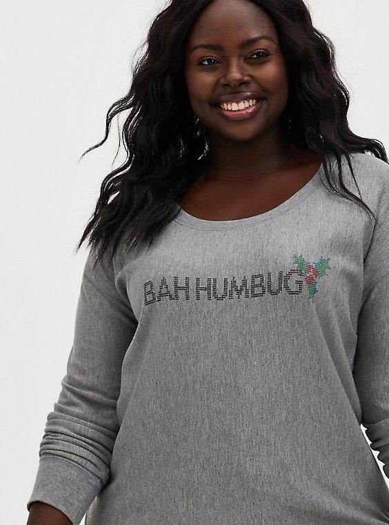 Super Soft Plush Bah Humbug Grey Sleep Sweatshirt, , hi-res