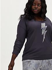 Grey Camo & Bolt Fleece Sleep Sweatshirt, GREY, hi-res