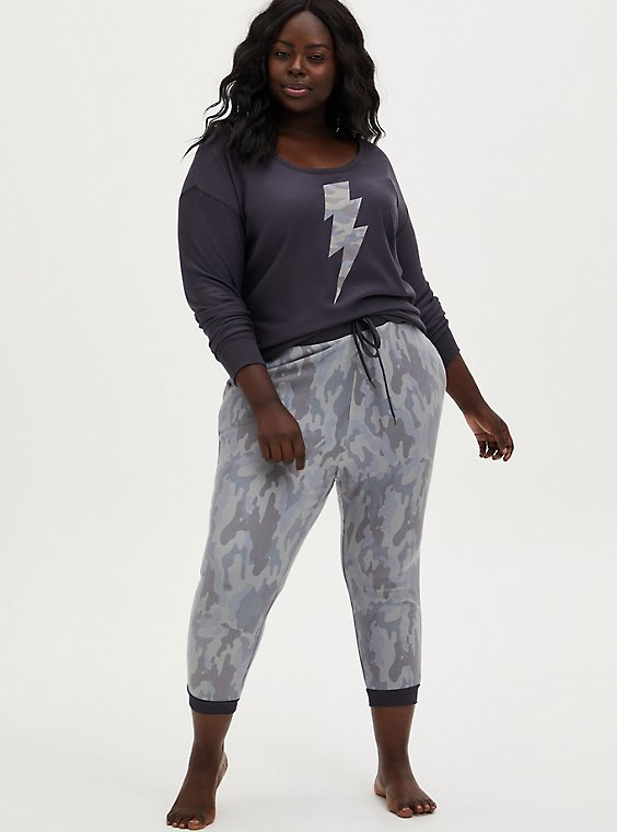 Grey Camo Fleece Sleep Jogger, MULTI, hi-res
