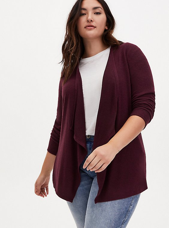 Super Soft Plush Burgundy Drape Front Cardigan, WINETASTING, hi-res