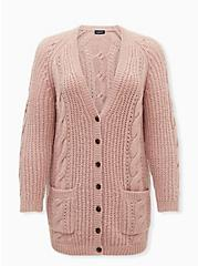 Dusty Pink Cable Knit Button Front Cardigan, ROSE BROWN, hi-res