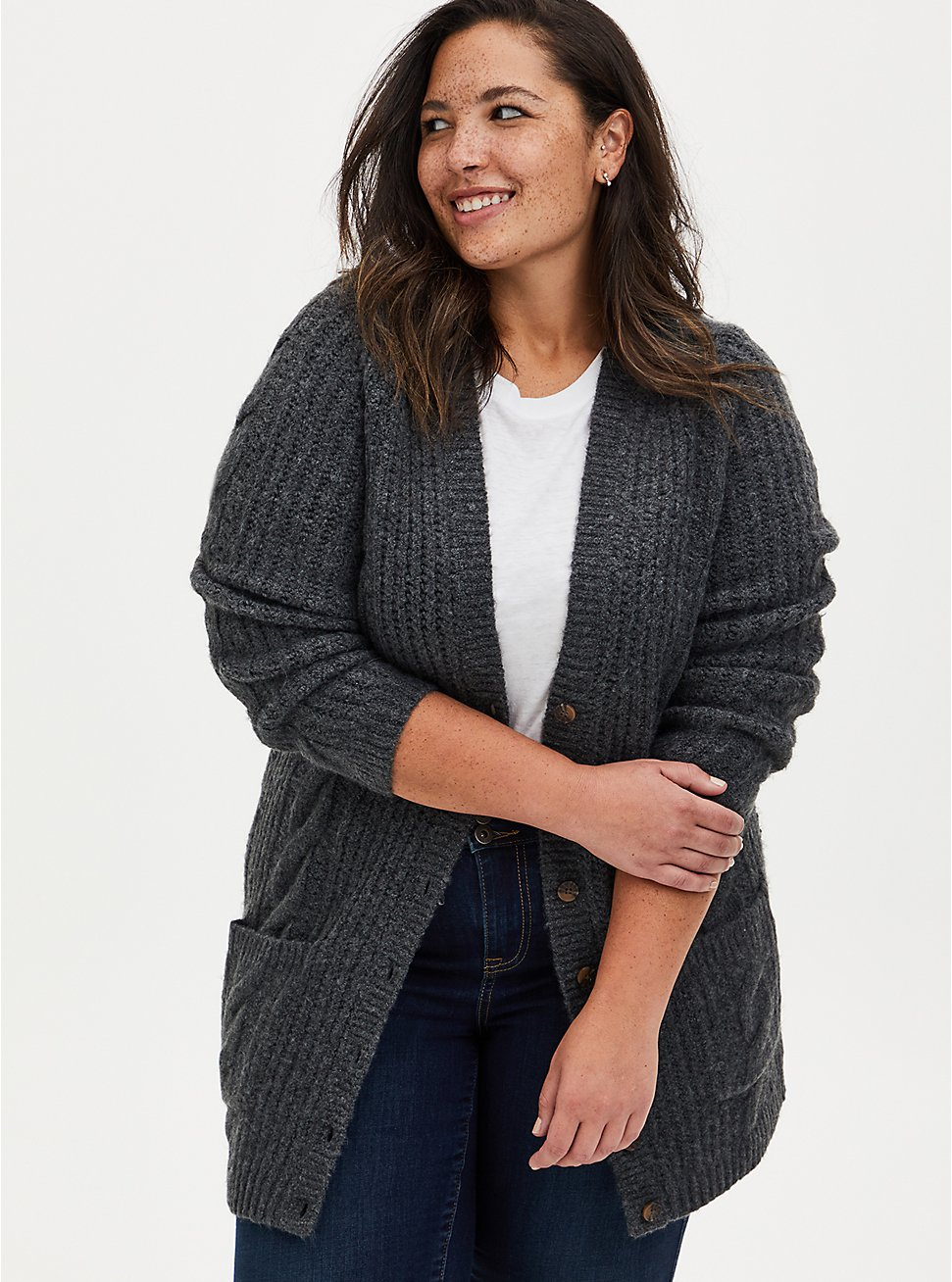 Plus Size Charcoal Grey Cable Knit Button Front Boyfriend Cardigan, GREY, hi-res