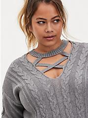 Grey Strappy Cable Knit Pullover Tunic, GREY HEATHER, alternate