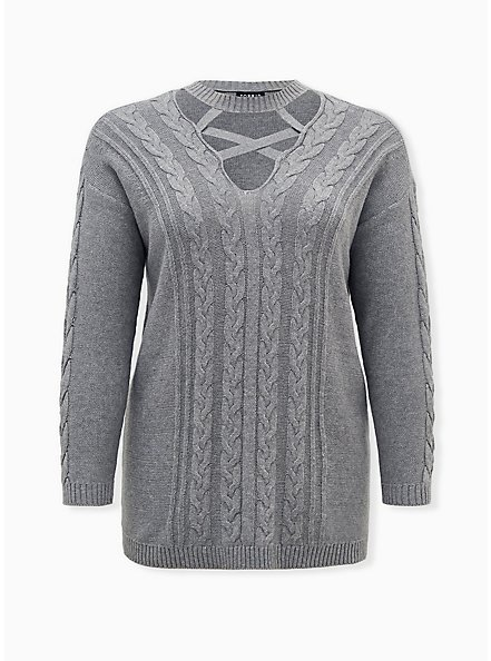 Grey Strappy Cable Knit Pullover Tunic, GREY HEATHER, hi-res