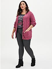 Fuchsia Pink Cable Knit Button Front Cardigan, RED, alternate