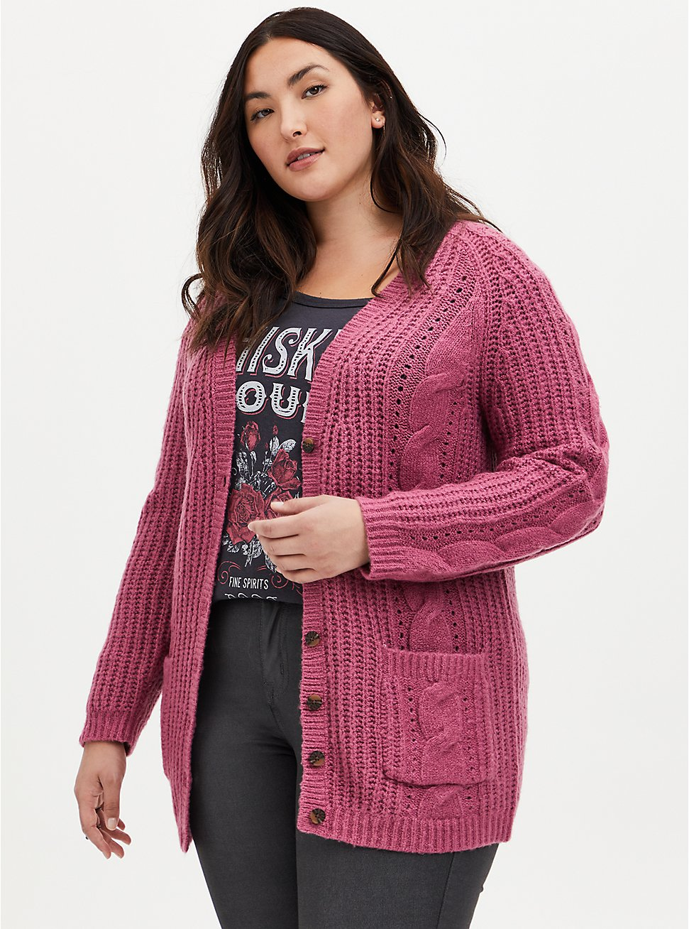 Fuchsia Pink Cable Knit Button Front Cardigan, RED, hi-res