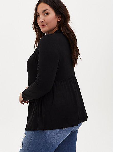 Super Soft Black Open Front Peplum Cardigan, DEEP BLACK, alternate